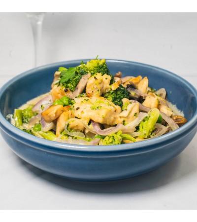 Cazuela de pollo con champignones y vegetales - Listo